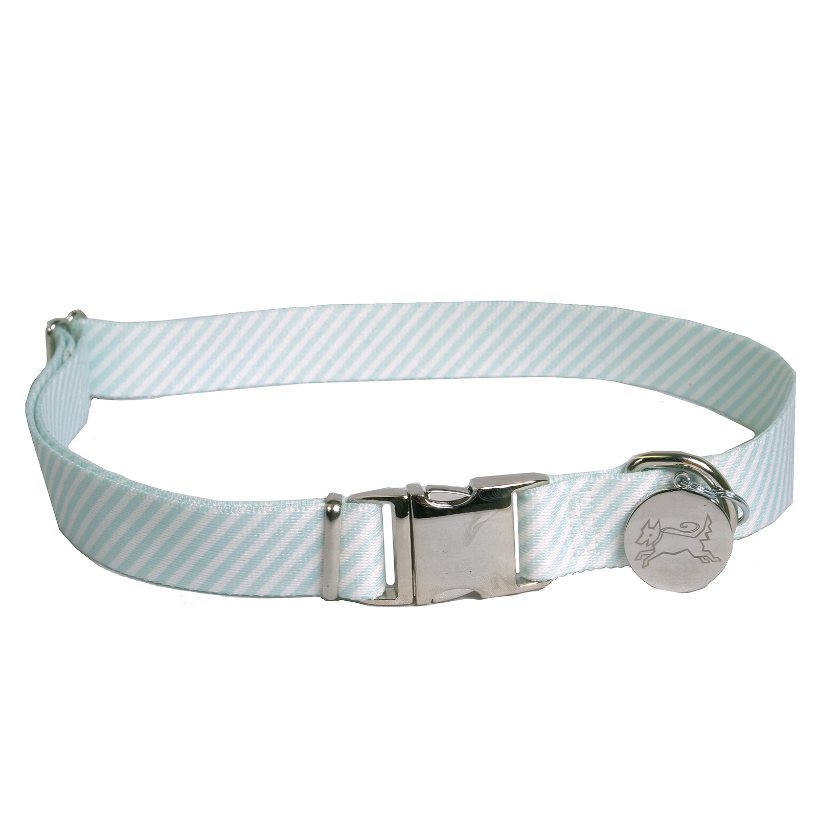 Southern Dawg: Seersucker Mint Premium Dog Collar