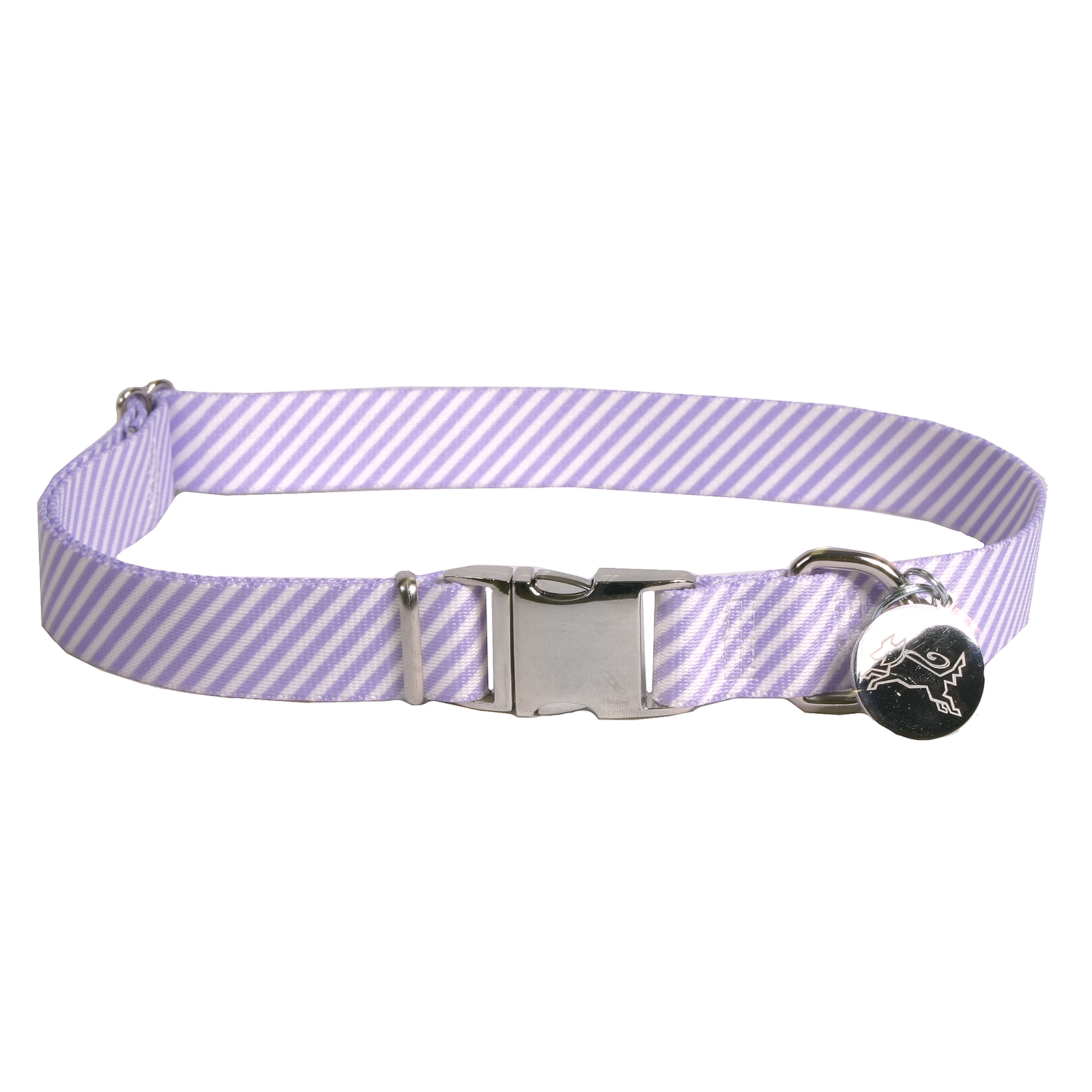 Southern Dawg: Seersucker Purple Premium Dog Collar