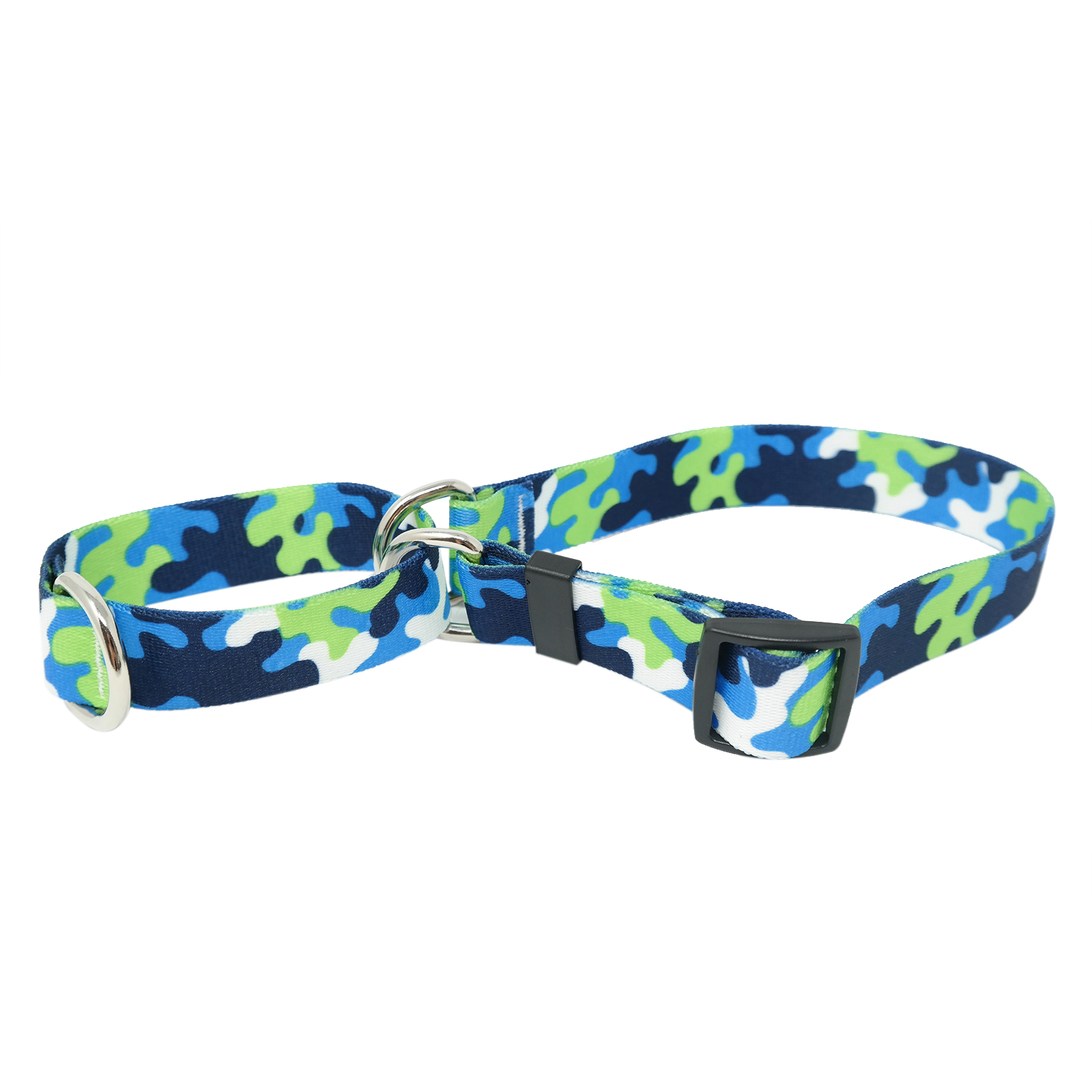 Navy & Spring Green Camo Martingale Collar