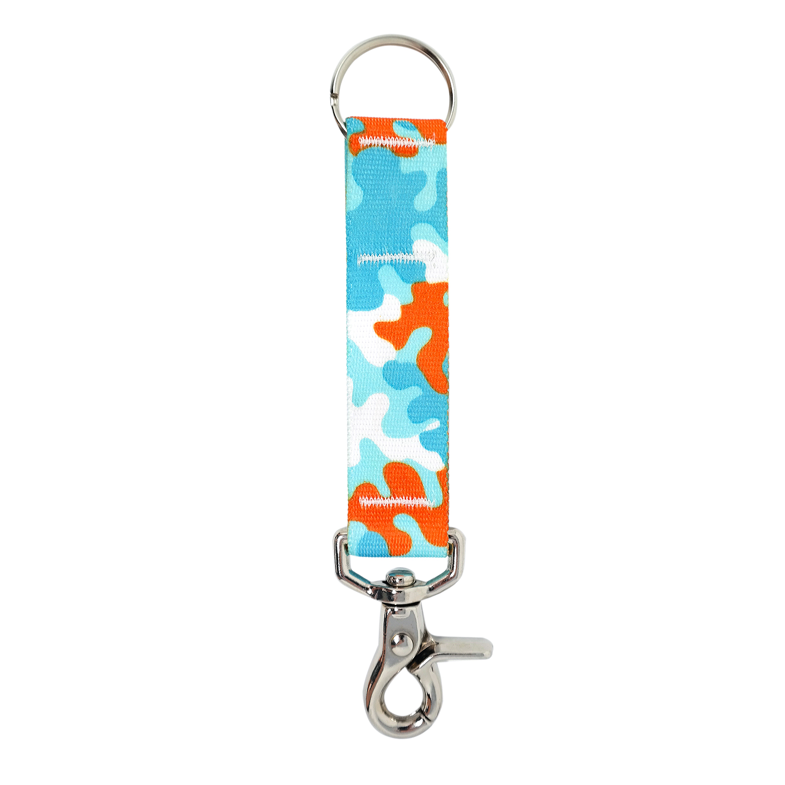 Orange & Aqua Camo keychain