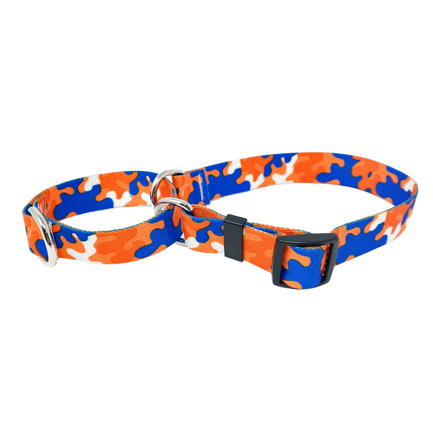 Orange & Royal Blue Camo Martingale Collar