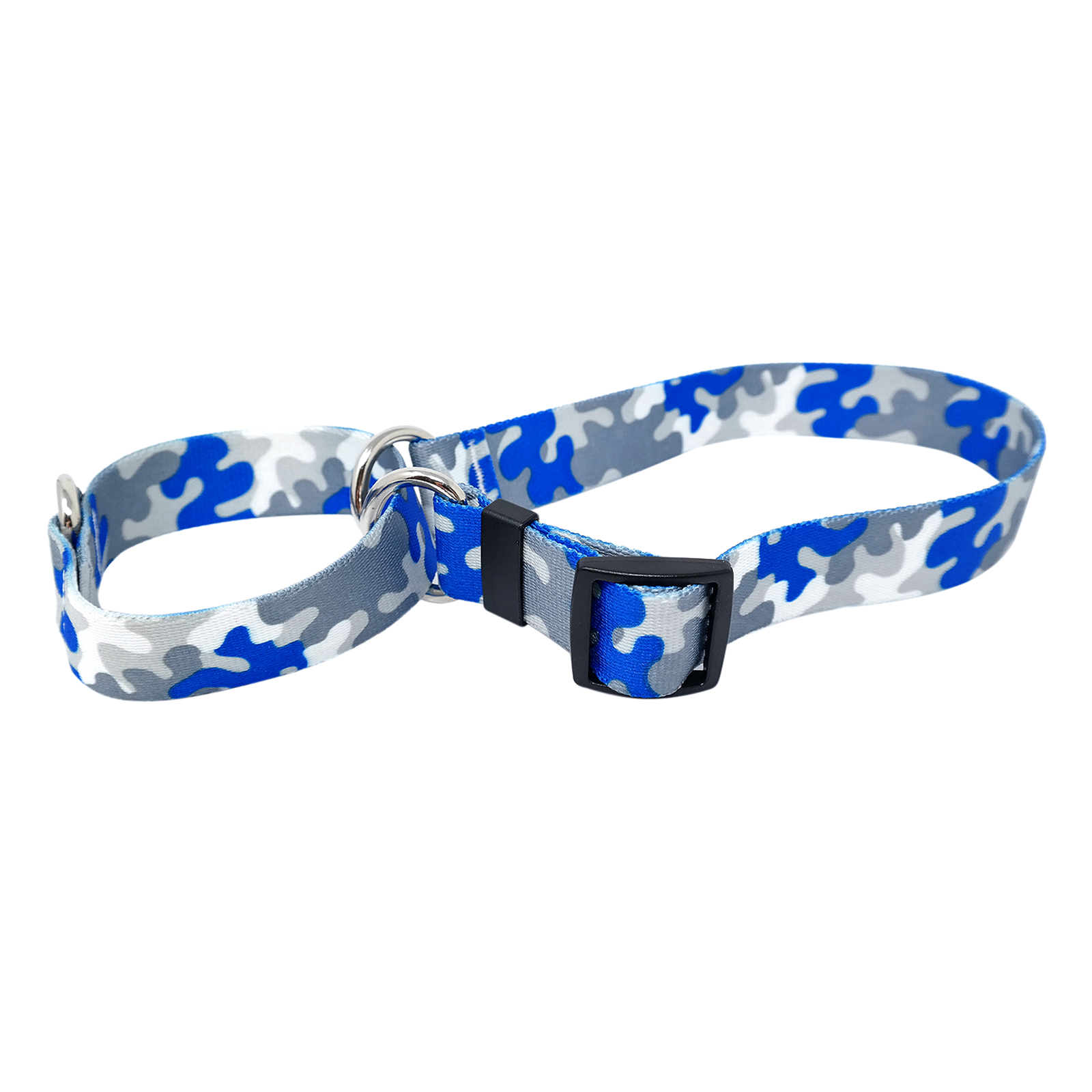 Royal Blue & Silver Camo Martingale Collar