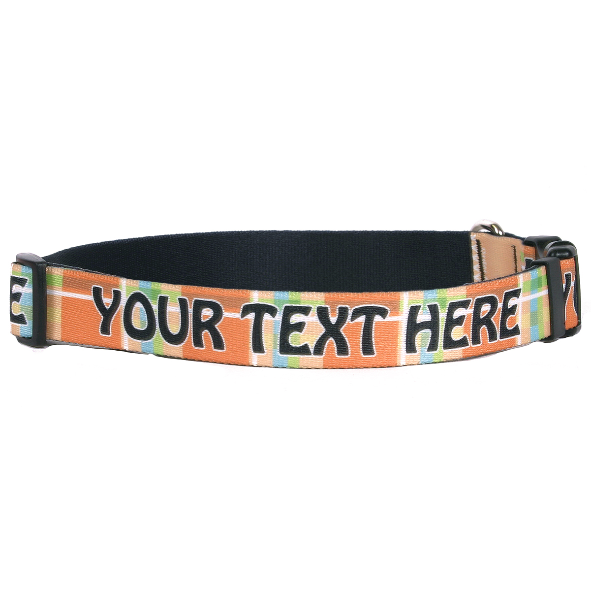 YDiD Personalized Madras Plaid Orange Dog Collar