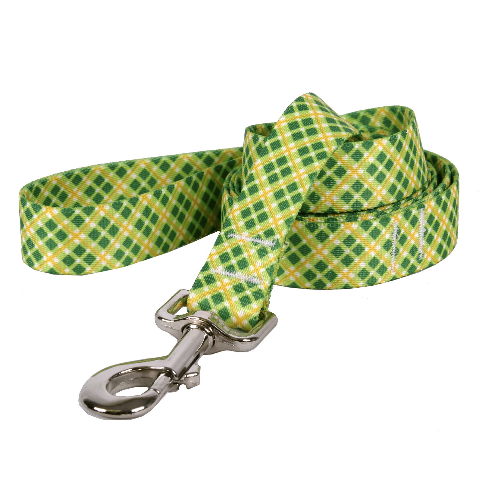 Yellow and Green Diagonal Plaid Lead