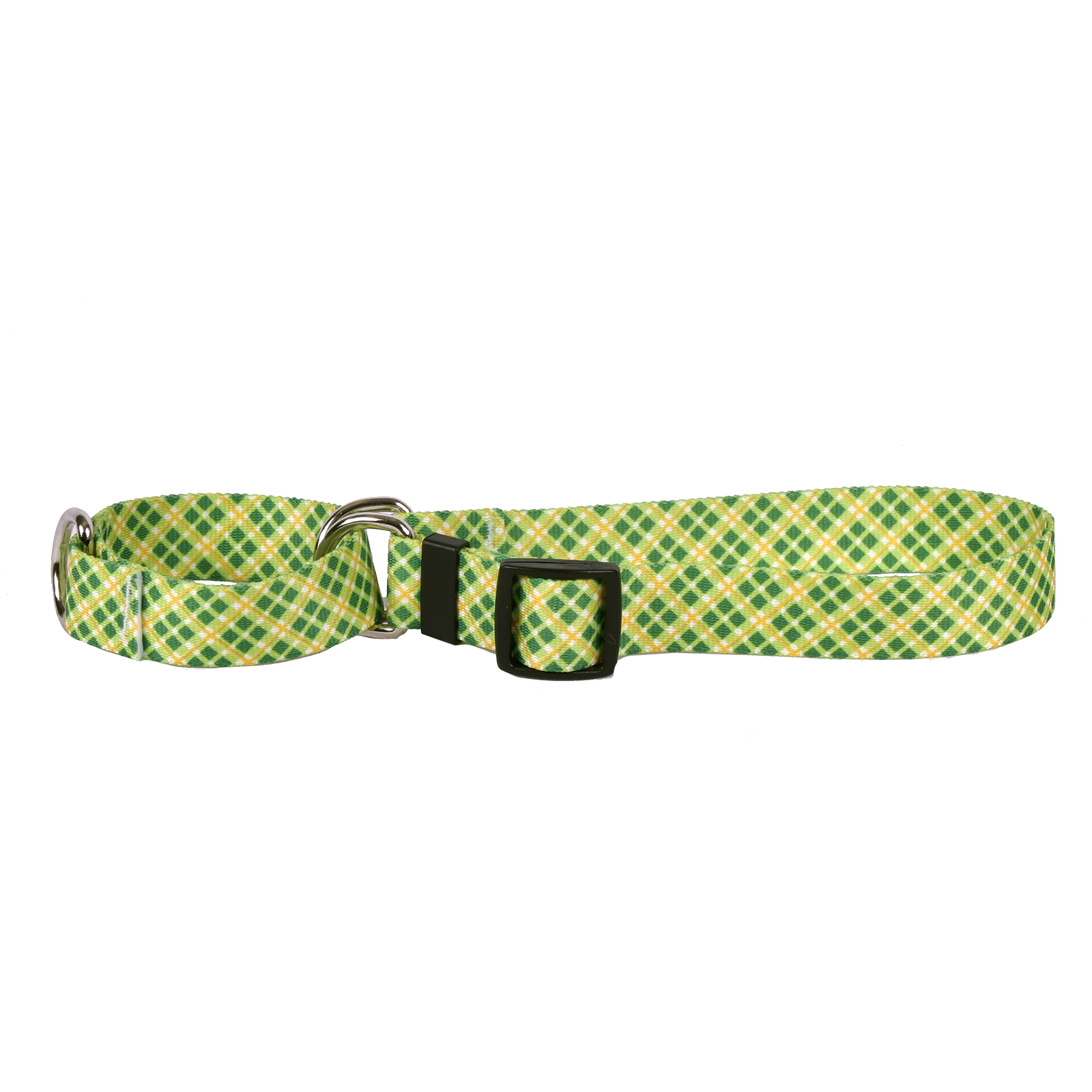 Yellow and Green Diagonal Plaid Martingale Collar