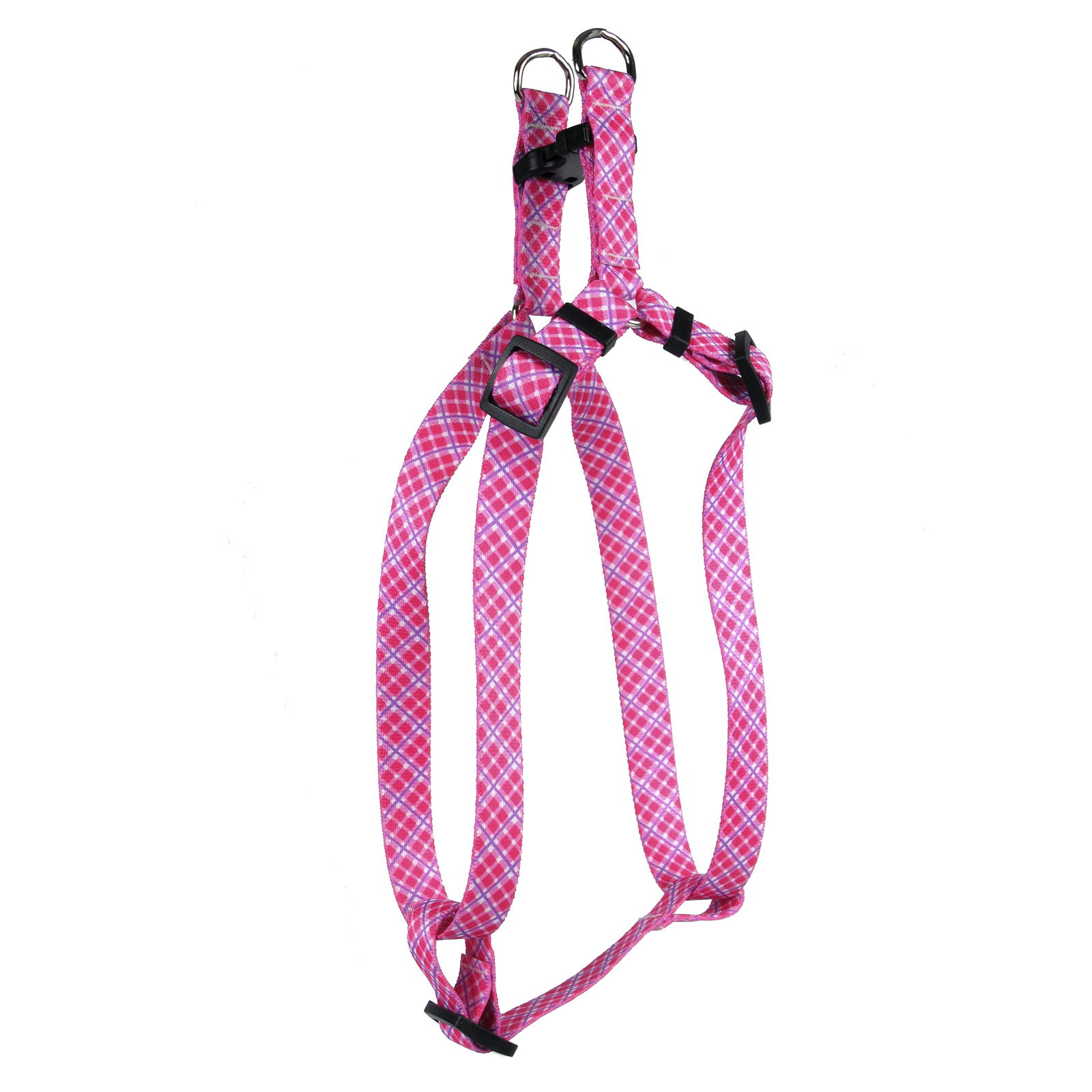 Pink and Purple Diagonal Plaid Step-In Harness