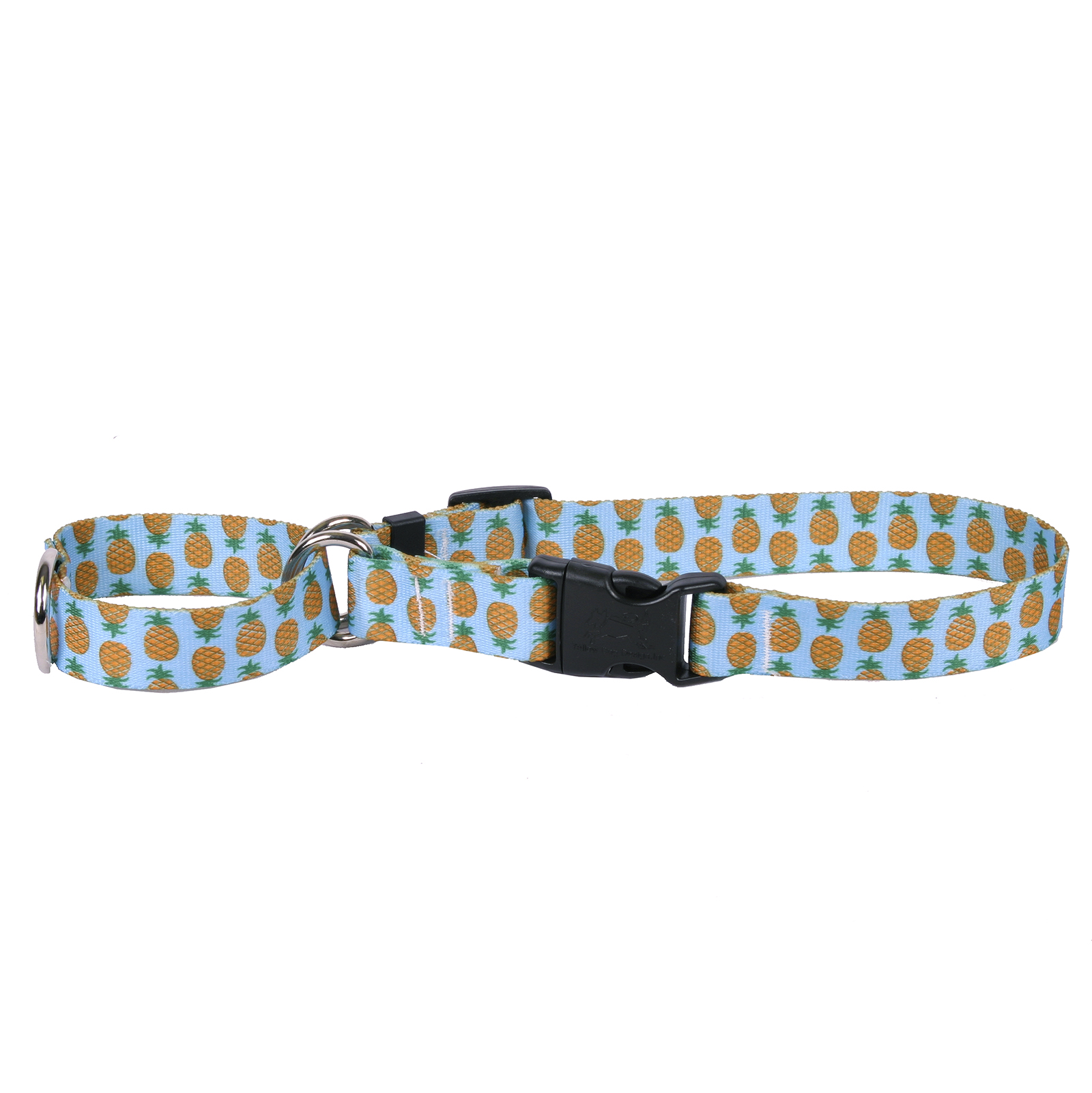 Pineapples Blue Martingale Collar