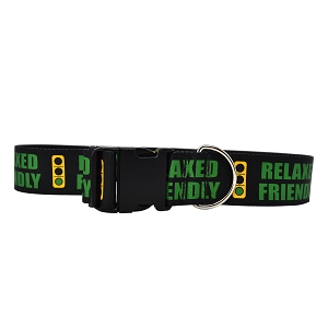 2 Inch Wide Caution Relaxed Friendly Light Dog Collar