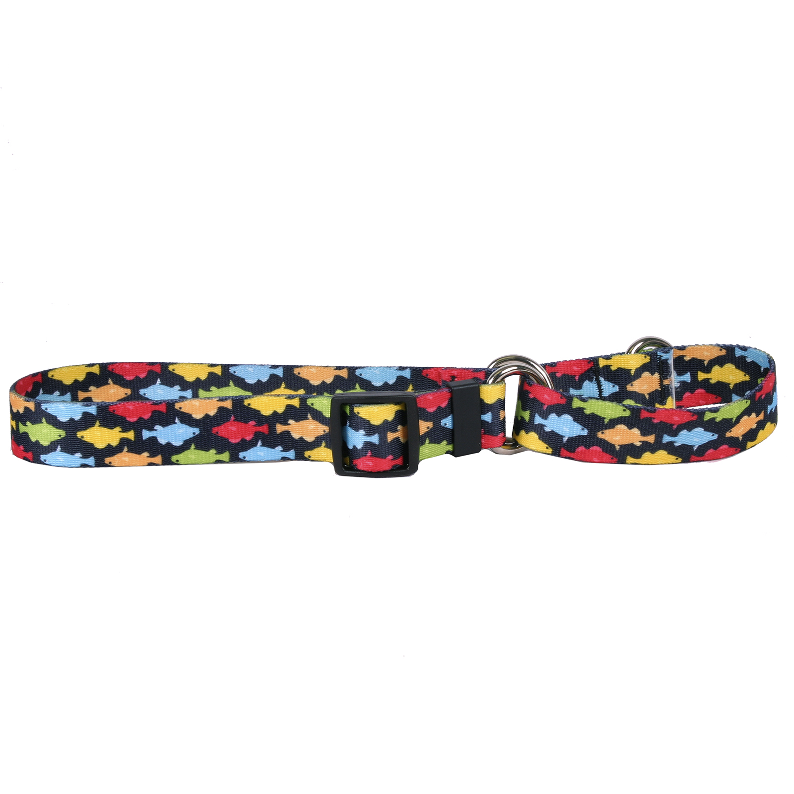 Rainbow Fish Black Martingale Collar