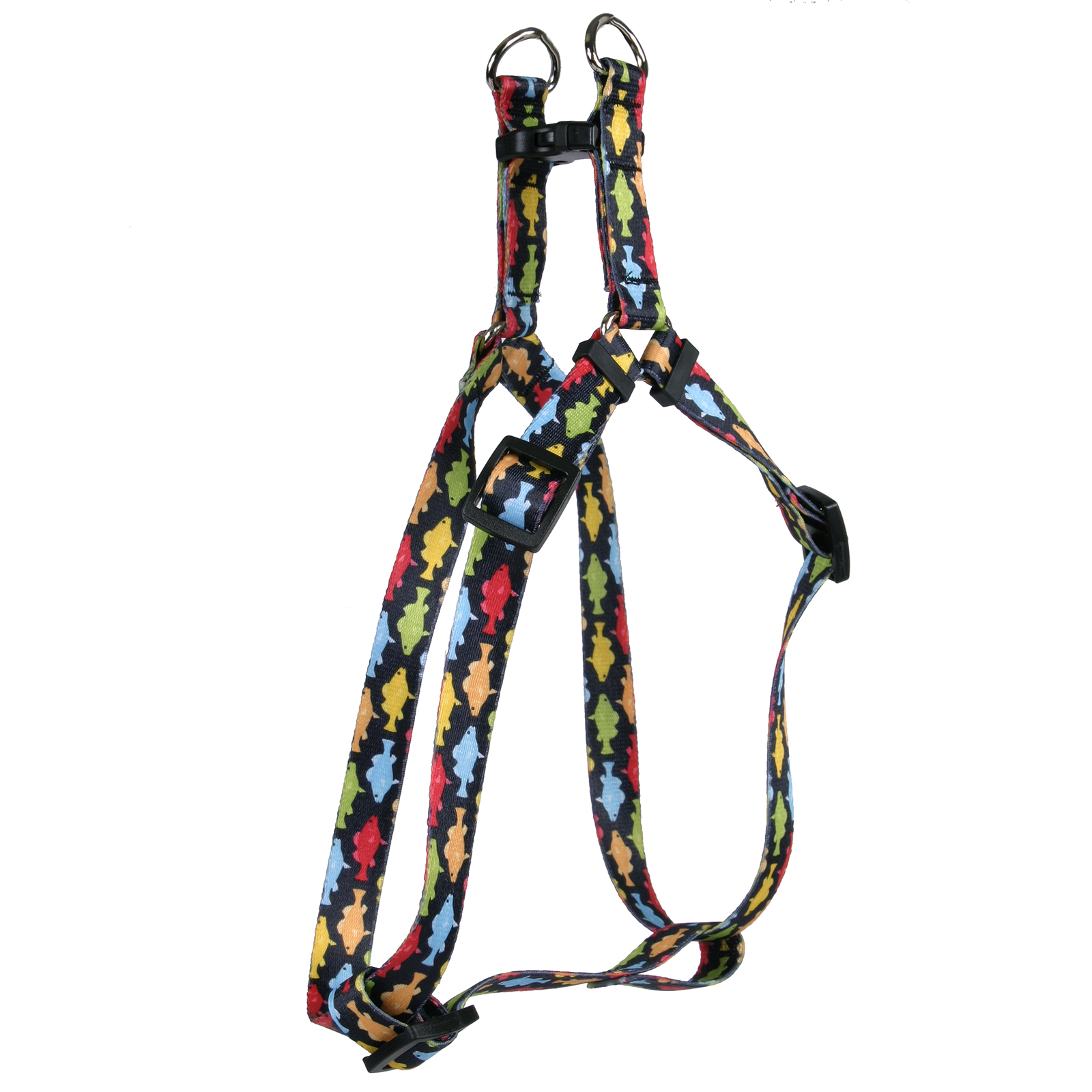 Rainbow Fish Black Step-In Harness