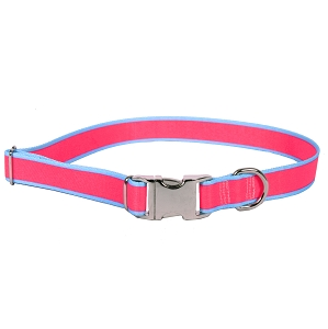 Sterling Stripes Collection Pink and Light Blue Dog Collar