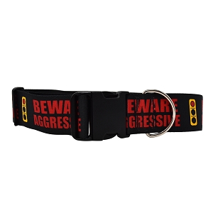 2 Inch Wide Caution Beware Aggressive Light Dog Collar