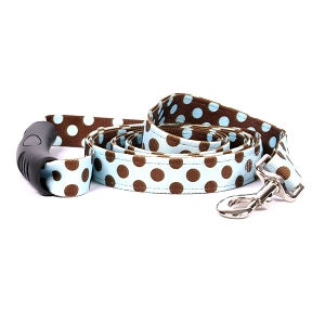 Blue and Brown Polka Dot Uptown Lead