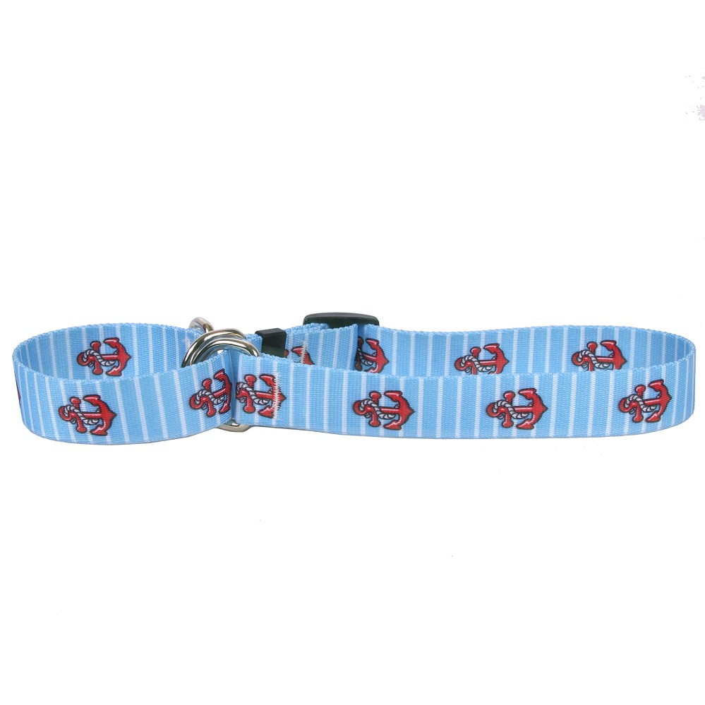 Anchors on Blue Stripes Martingale Collar