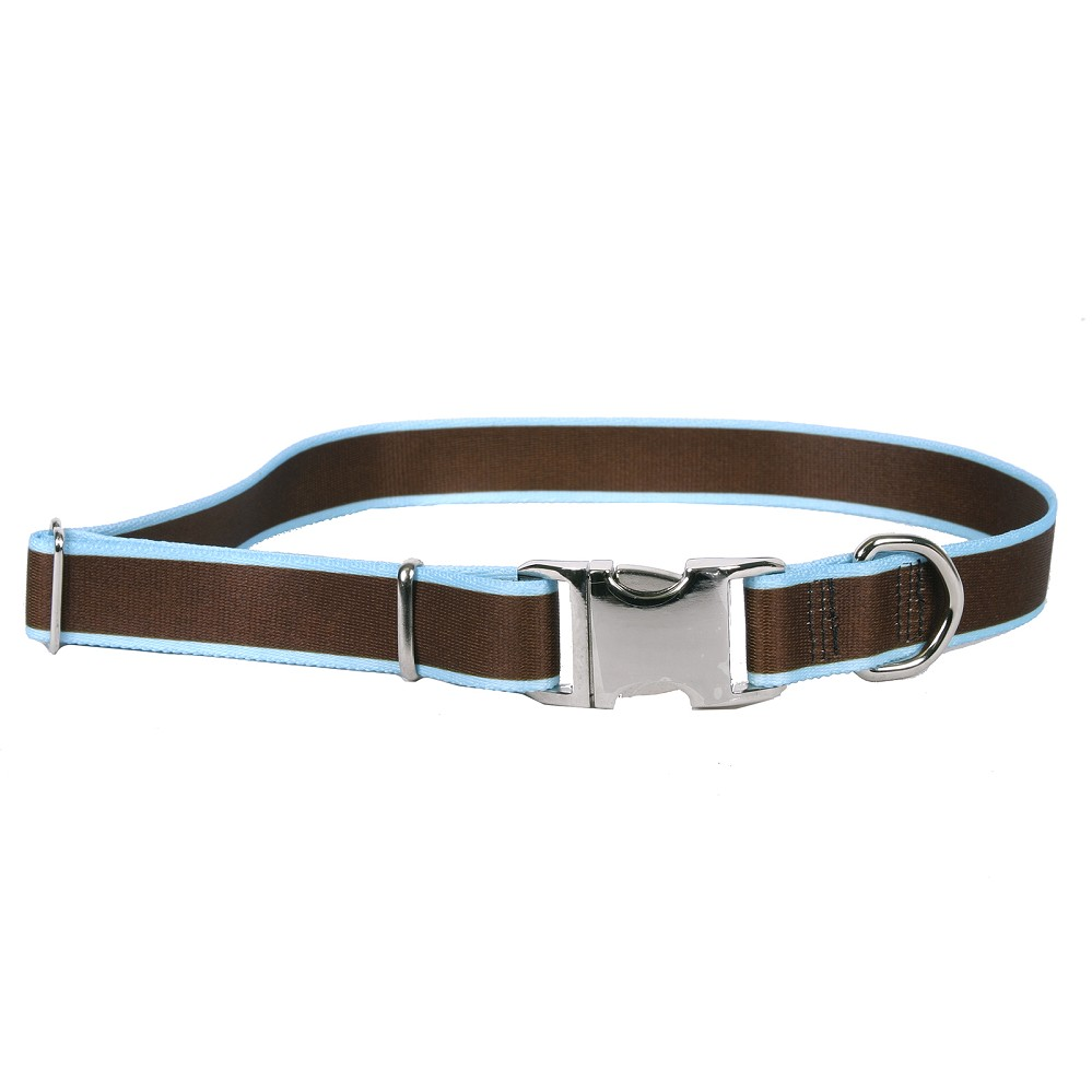 Sterling Stripes Collection Brown and Light Blue Dog Collar