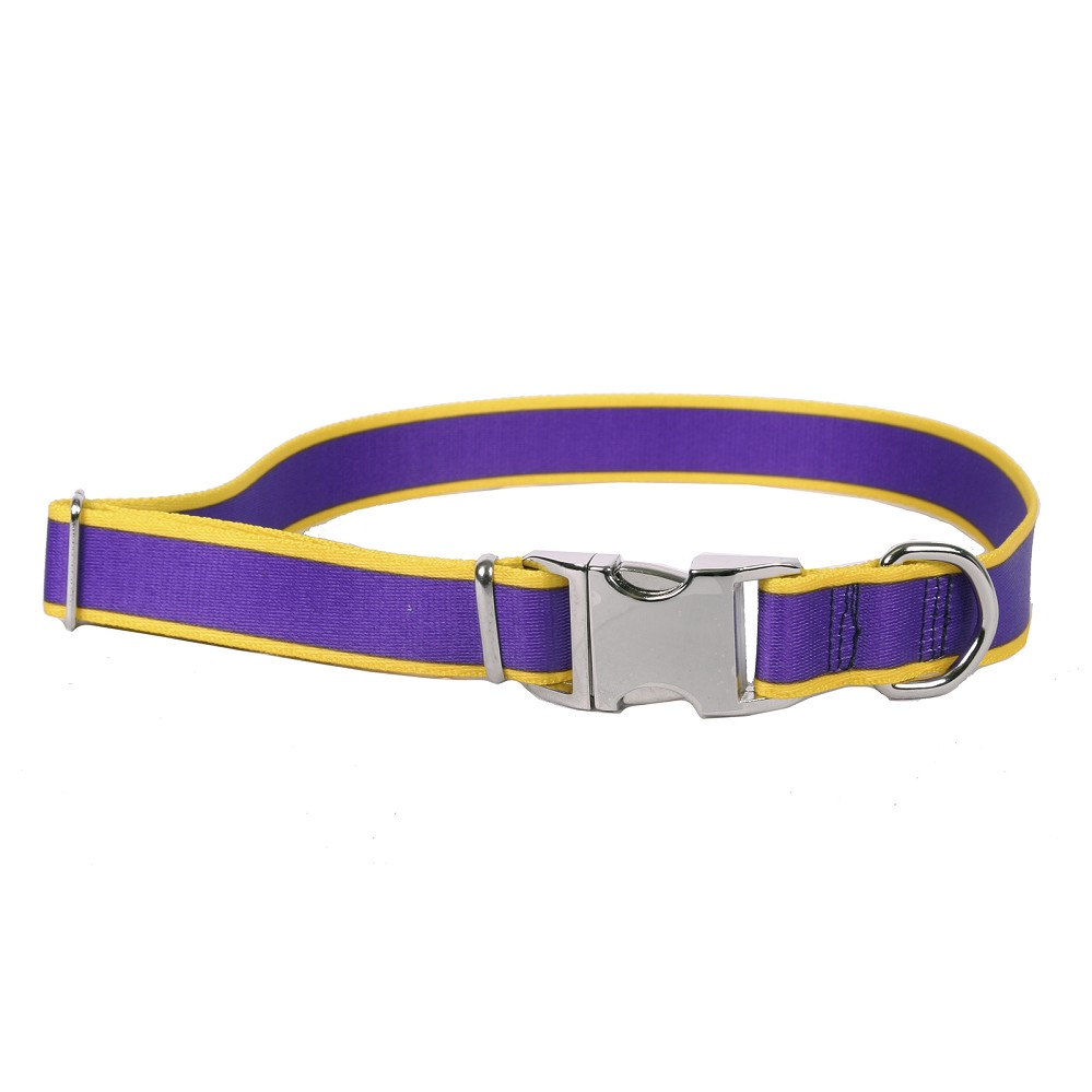 Sterling Stripes Collection Purple and Yellow Dog Collar