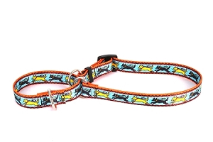 Black and Yellow Dog Martingale Collar