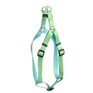 Green and Blue Polka Dot Step-In Harness