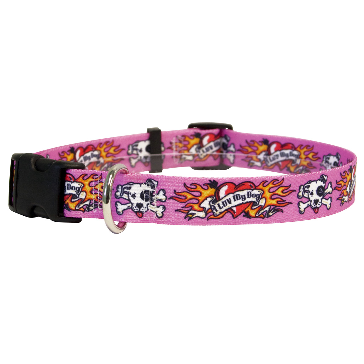I Luv My Dog Pink Standard Collar