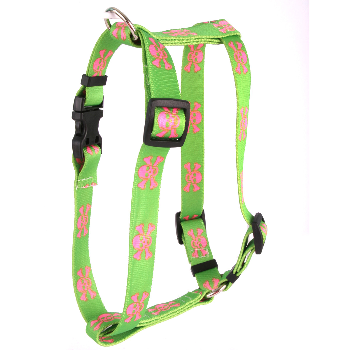Green and Pink Skulls Roman H Harness