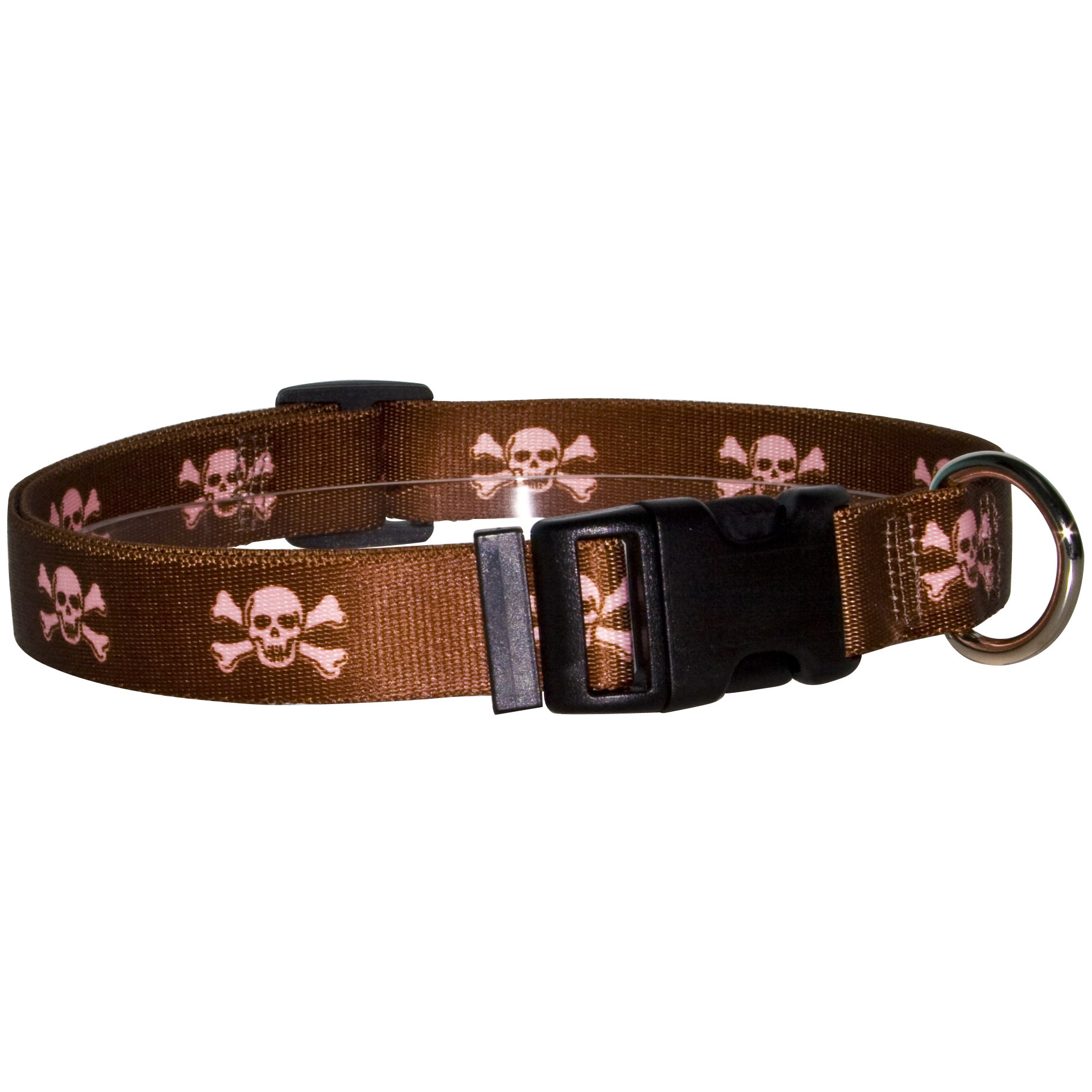 Brown and Pink Skulls Standard Collar