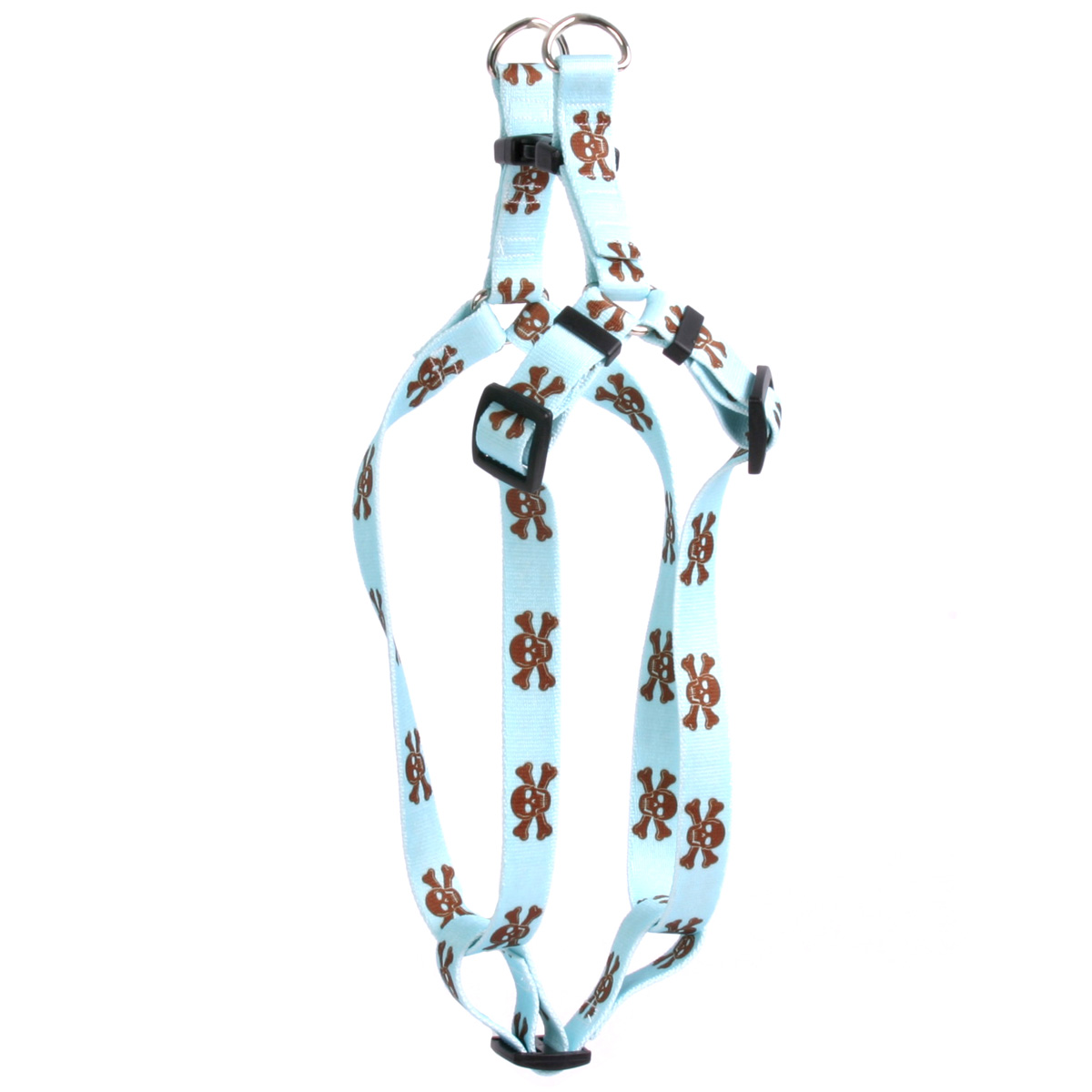 Blue and Brown Skulls Step-In Harness