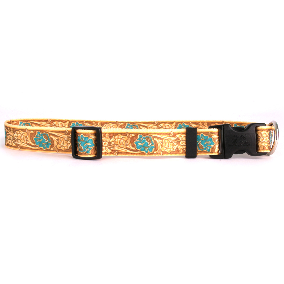 Leather Rose Teal Standard Collar