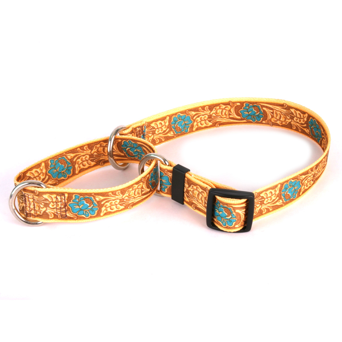 Leather Rose Teal Martingale Collar