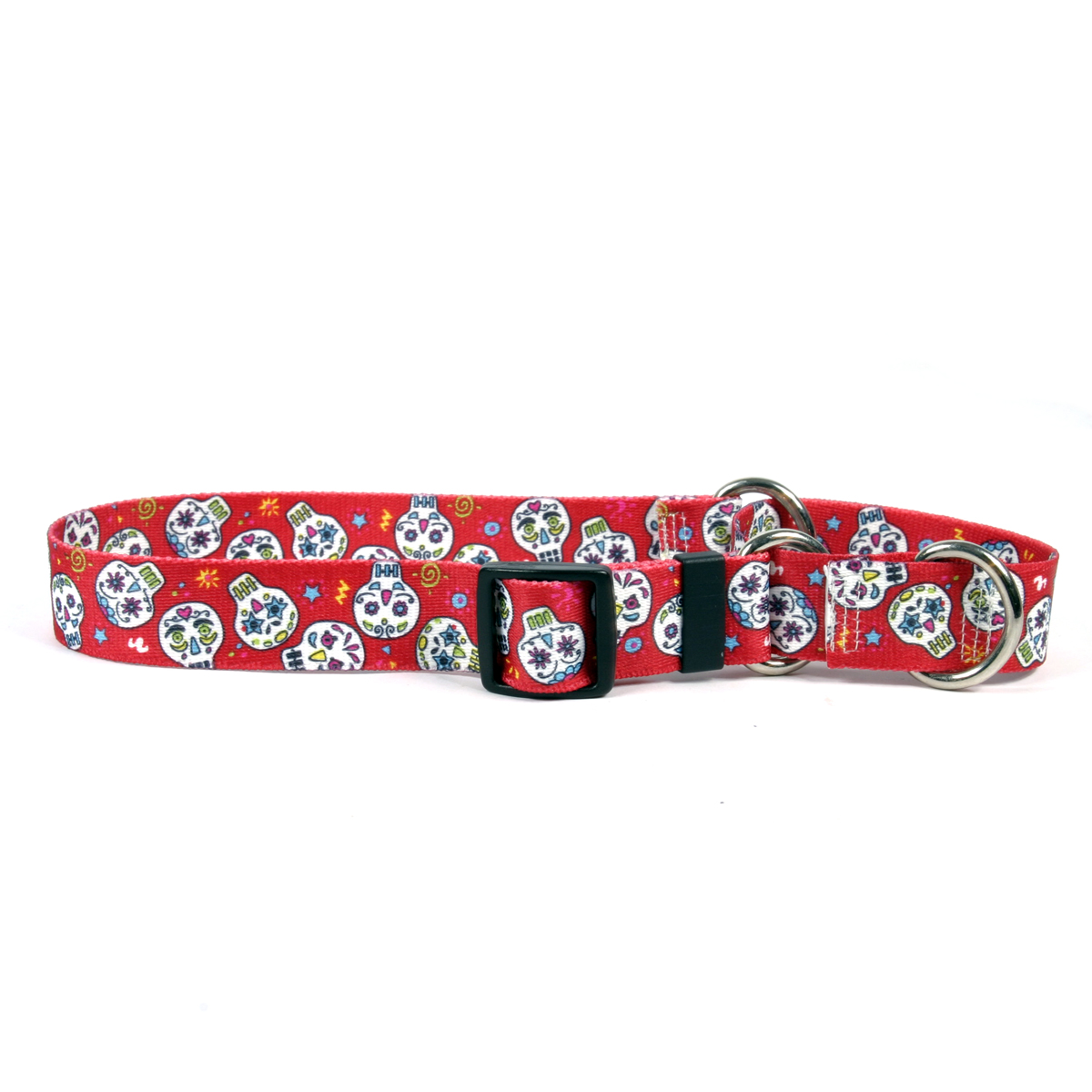 Sugar Skulls Red Martingale Collar