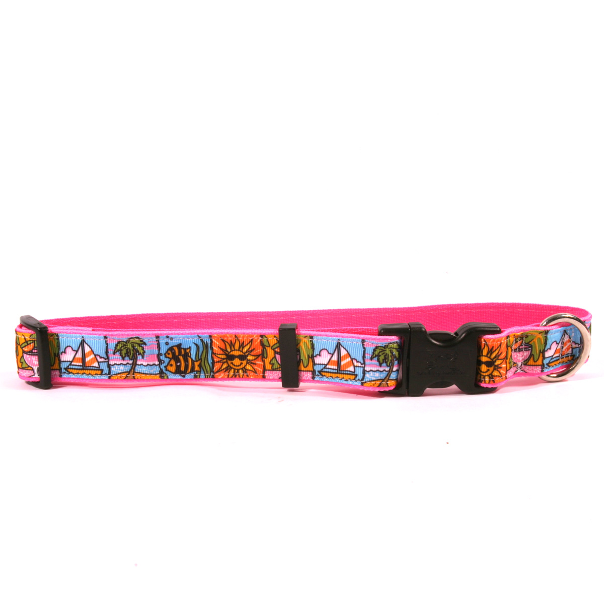 Beach Party on Pink Ribbon Collar