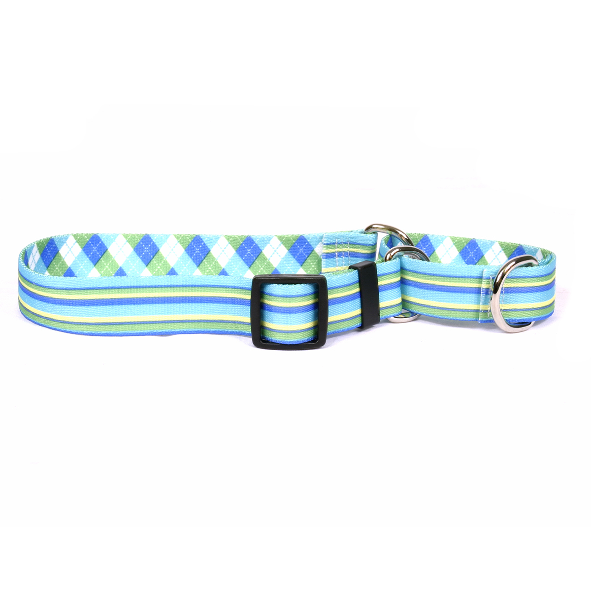 Blue and Green Stripes Martingale Collar