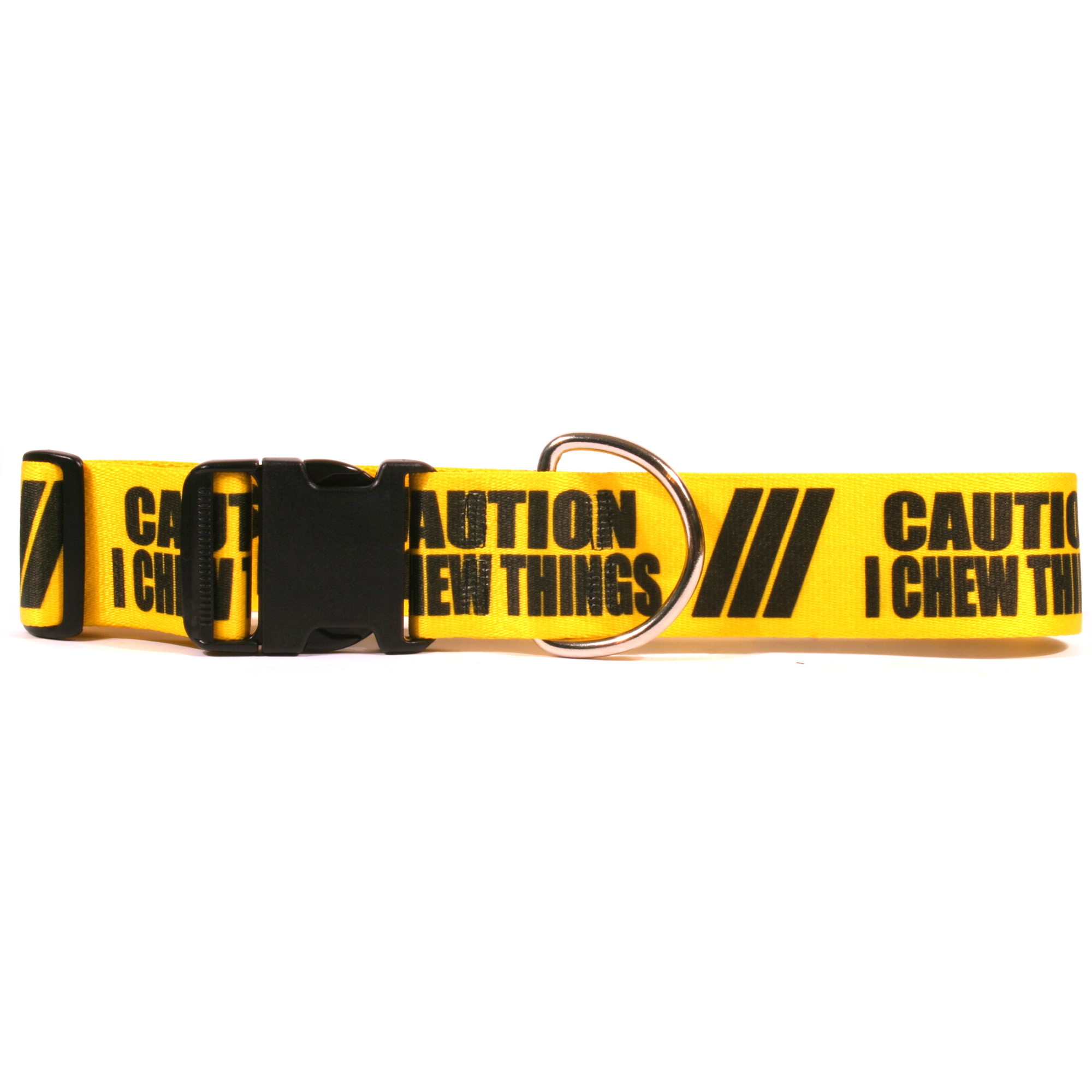 2 Inch - Caution I Chew On Things Dog Collar