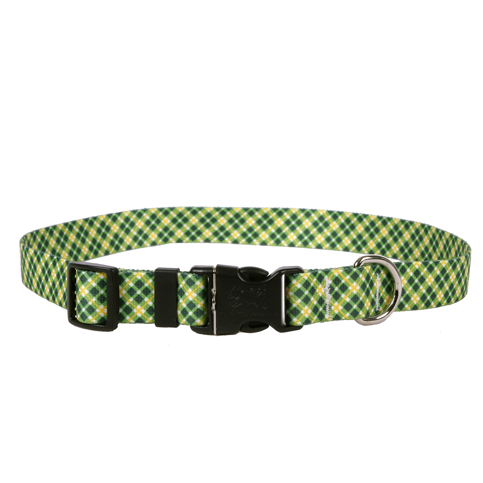 Green and Gold Diagonal Plaid Standard Collar