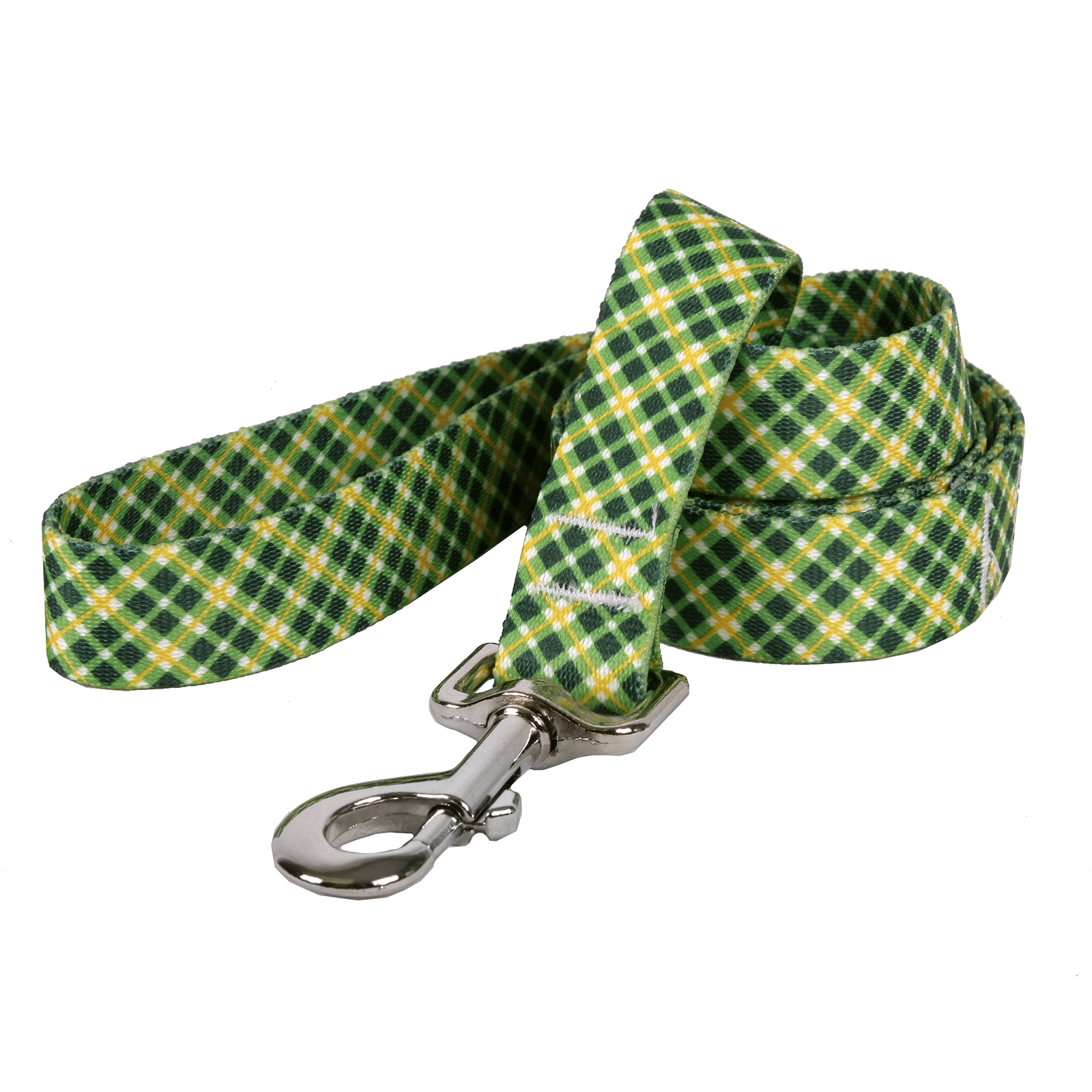 Green and Gold Diagonal Plaid Lead