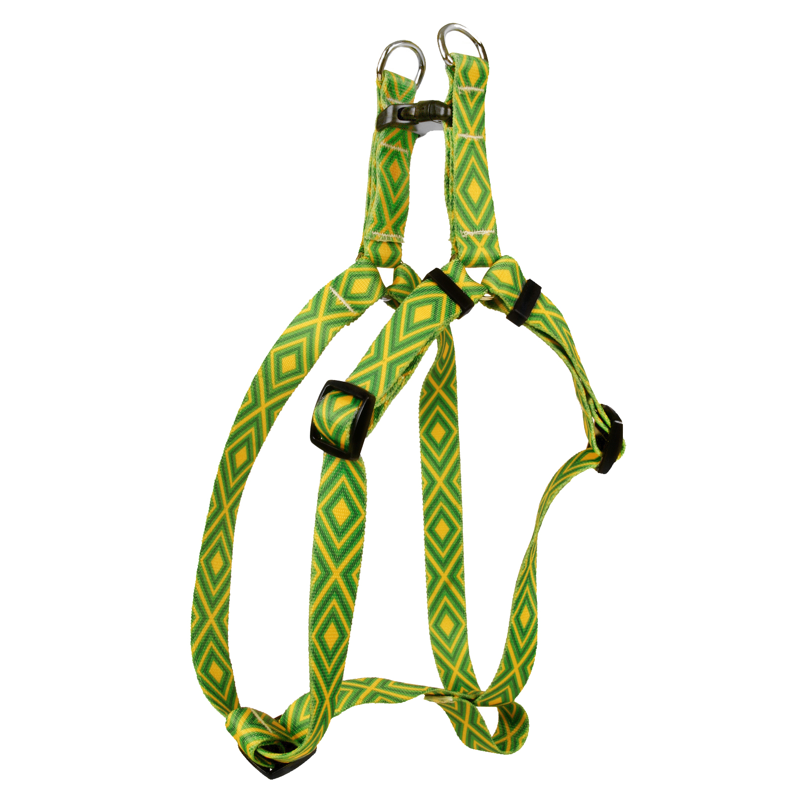 Green and Gold Geometric Step-In Harness