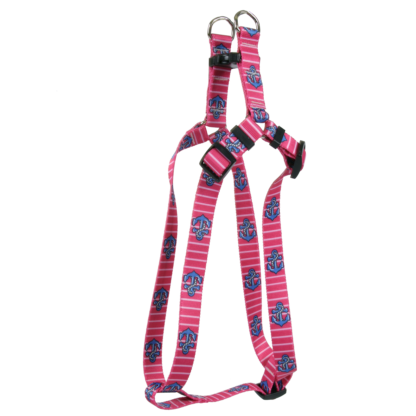 Anchors on Pink Stripes Step-In Harness