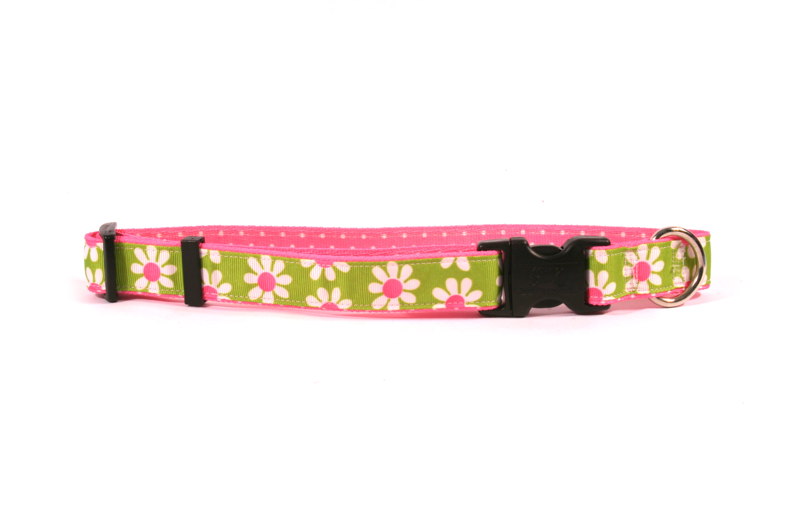 Green Daisy on Pink Polka Ribbon Collar