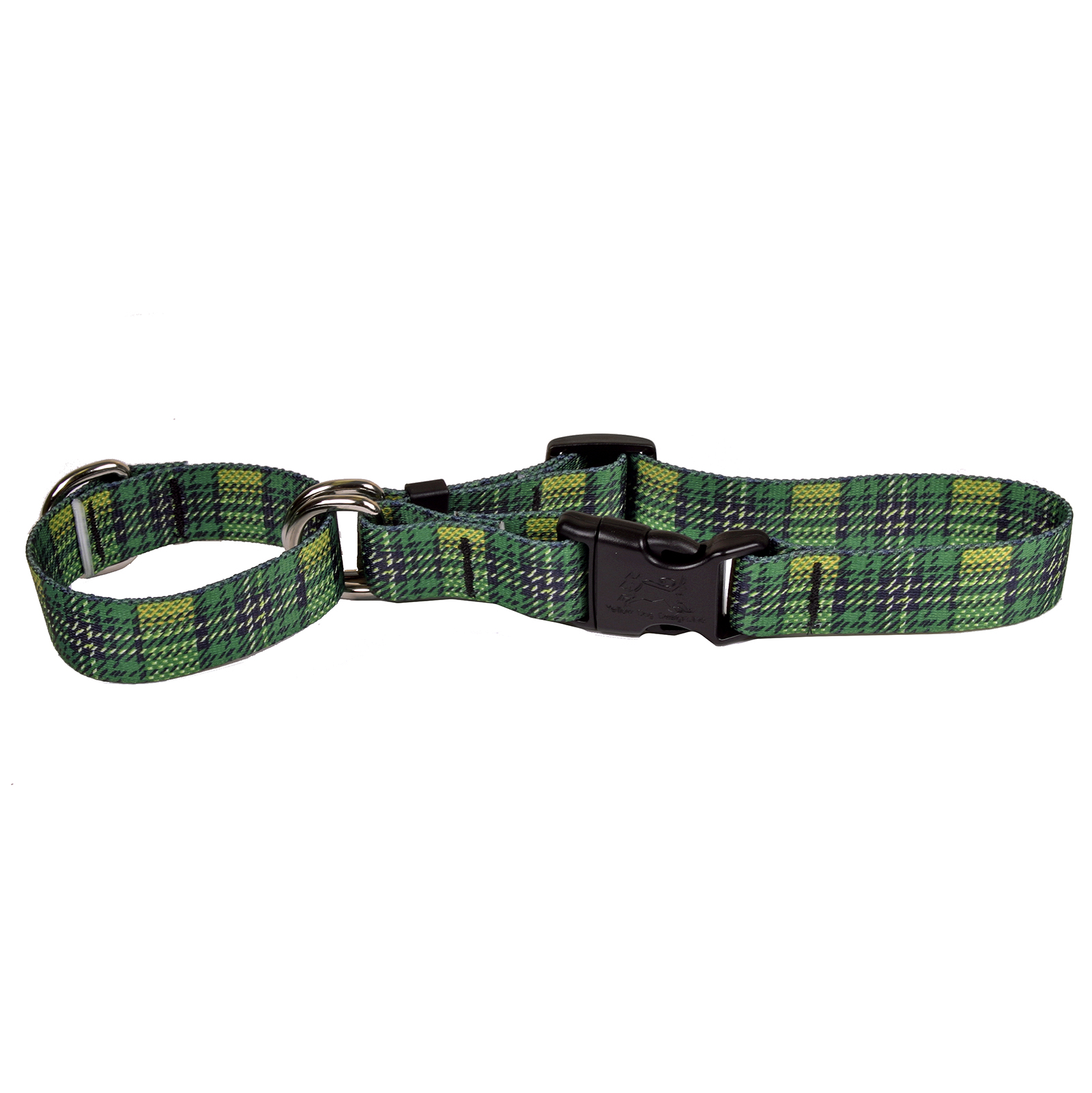 Highland Plaid Green and Gold Martingale Collar