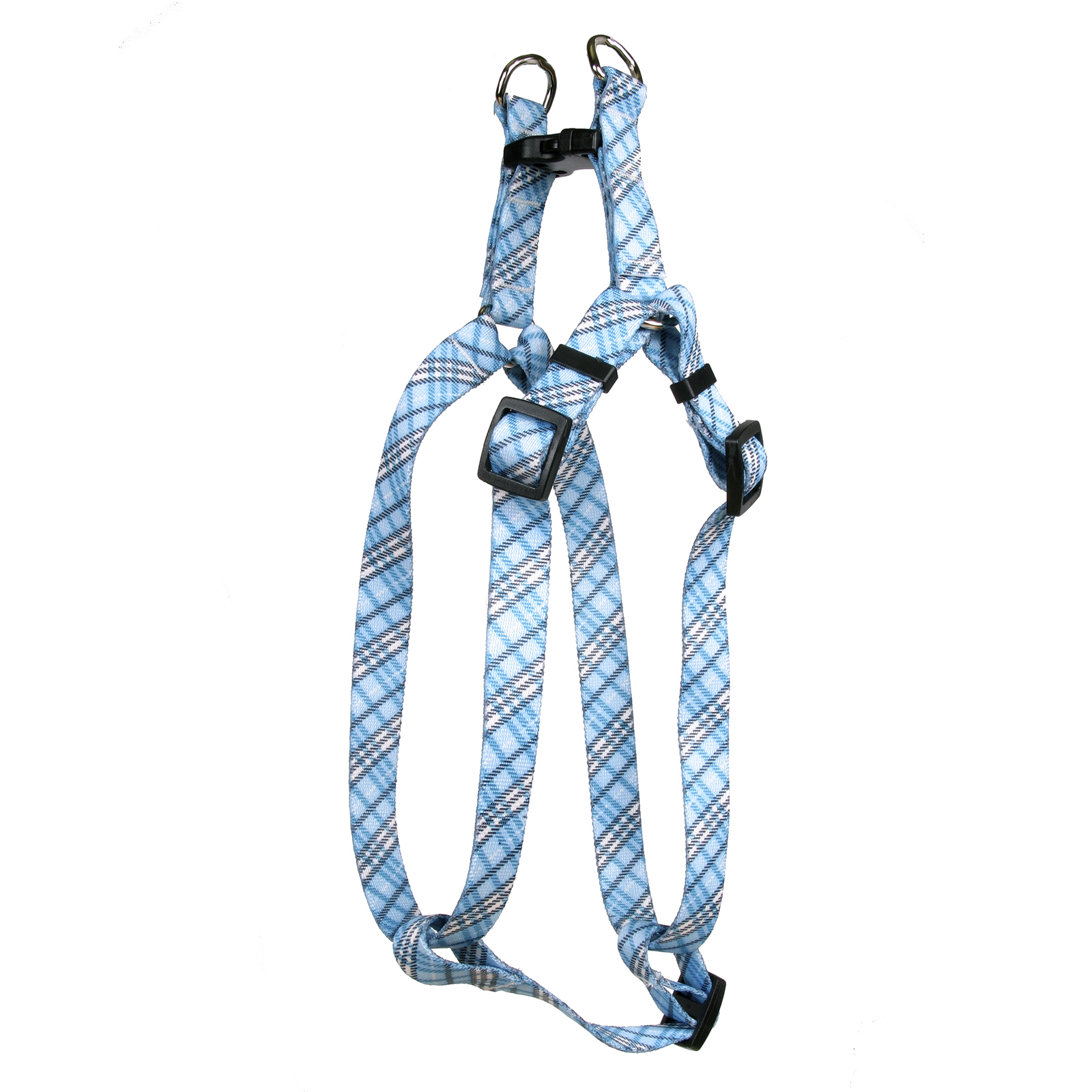 London Plaid Light Blue Step-In Harness