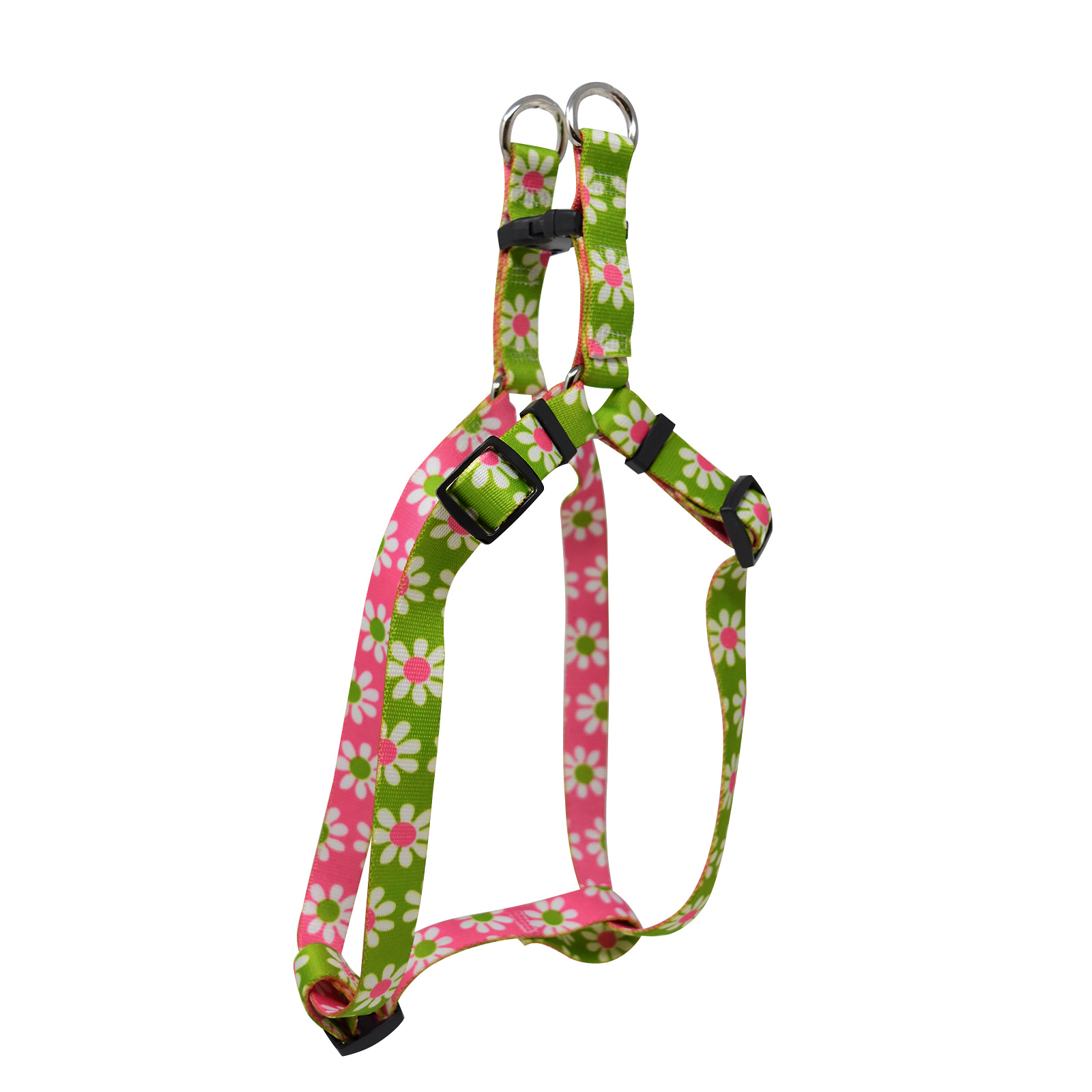 Green & Pink  Daisy Step-In Harness