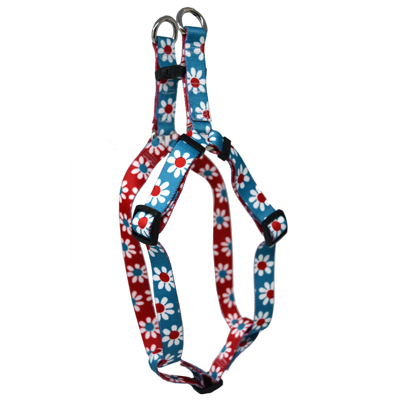 Teal & Red Daisy Step-In Harness