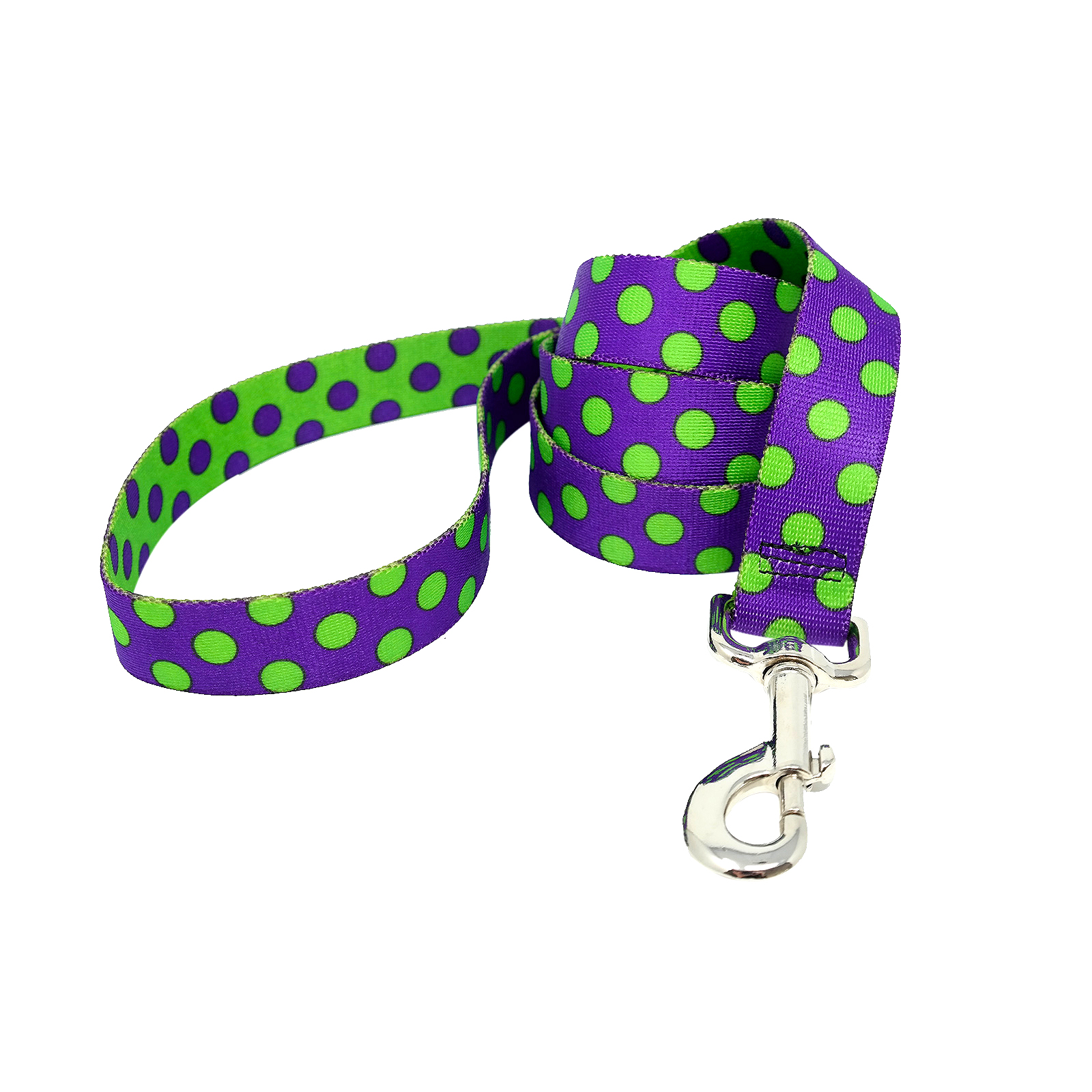 Purple & Spring Green Polka Lead