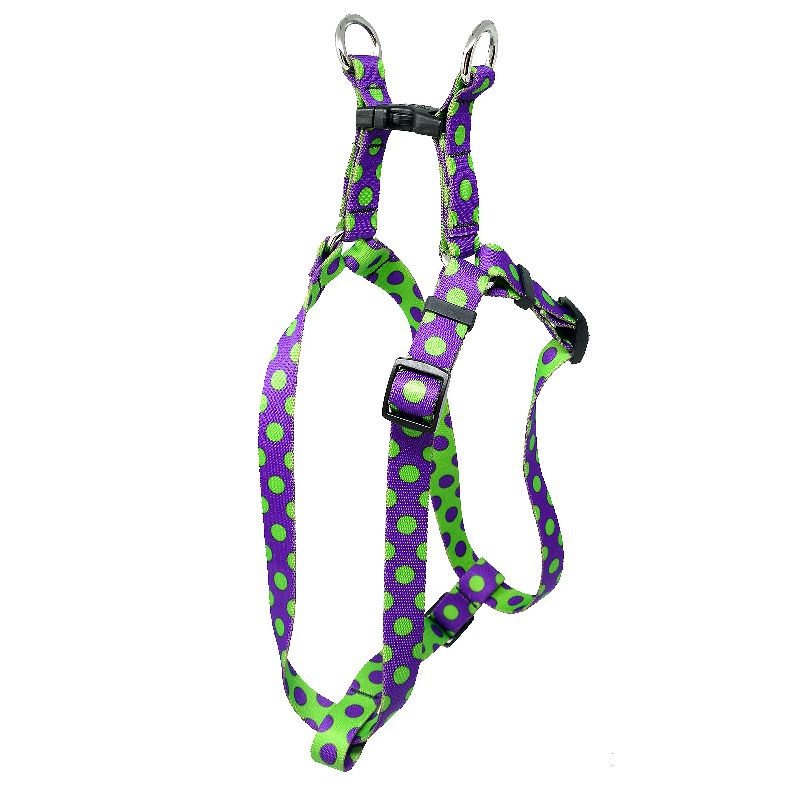 Purple & Spring Green Polka Step-In Harness