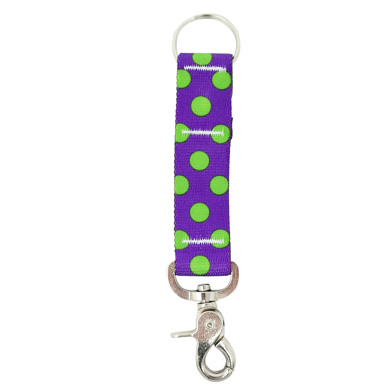 Purple & Spring Green Polka Keychan