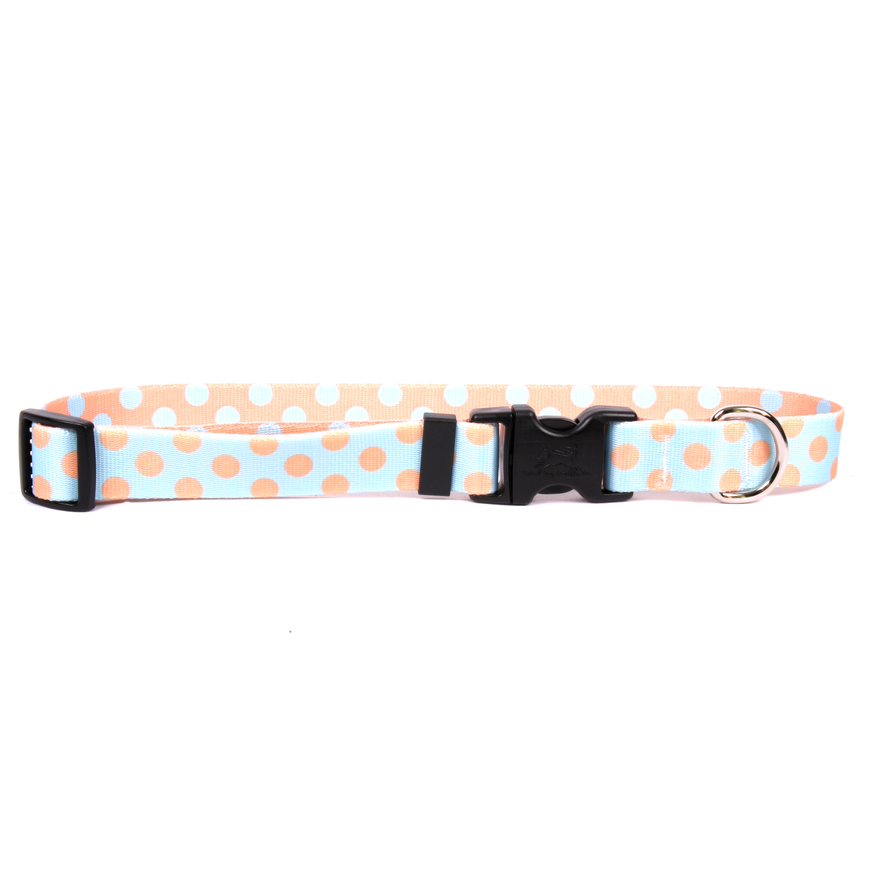 Blue and Melon Polka Dot Standard Collar