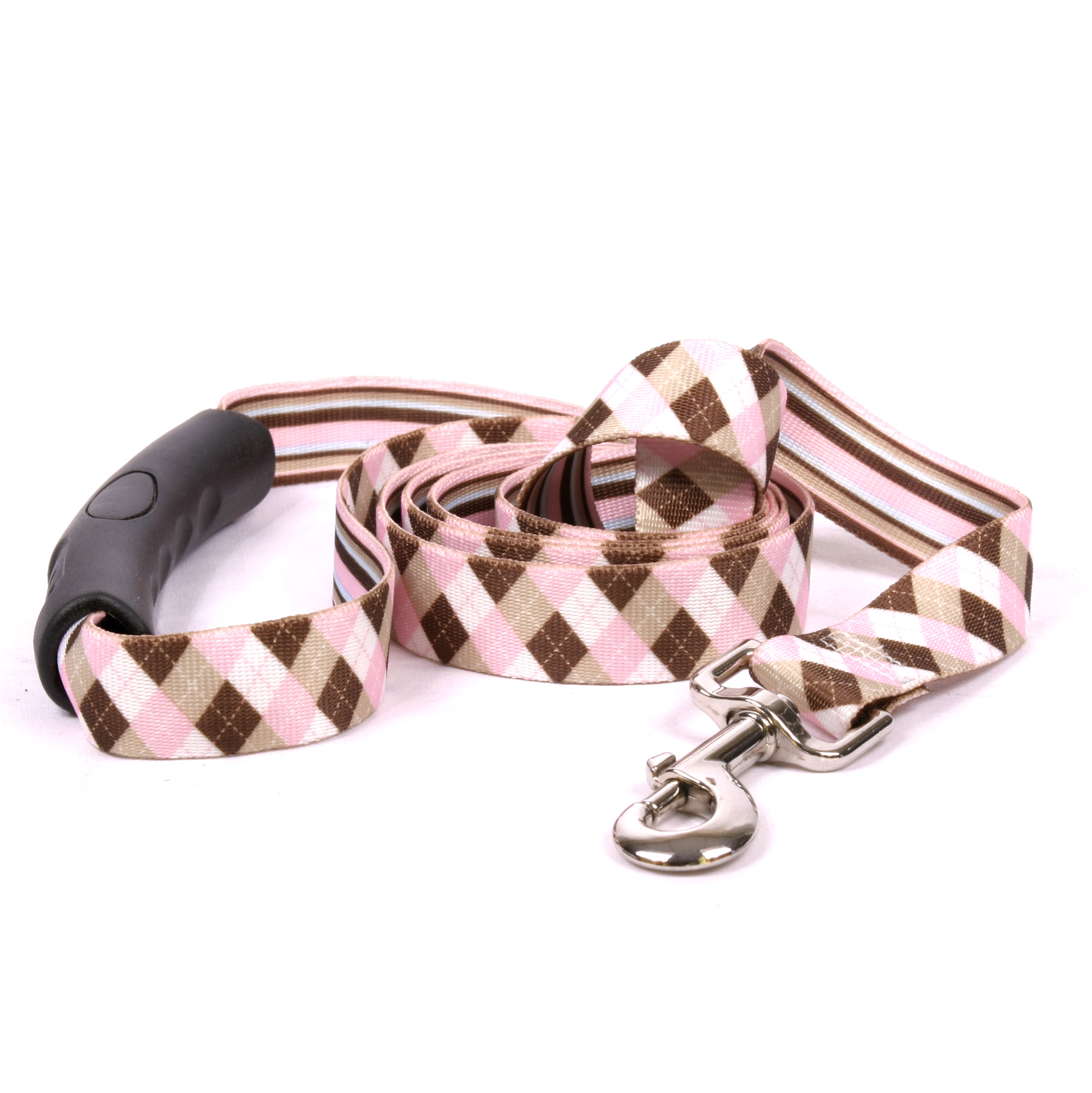 Pink and Brown Argyle EZ-Lead
