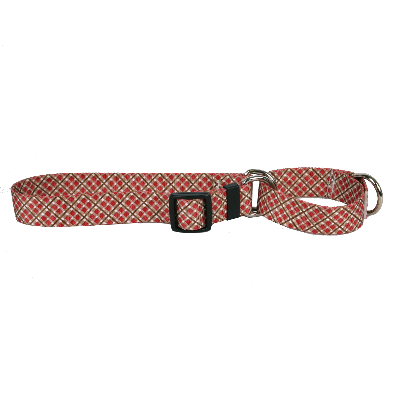 Red and Brown Diagonal Plaid Martingale Collar
