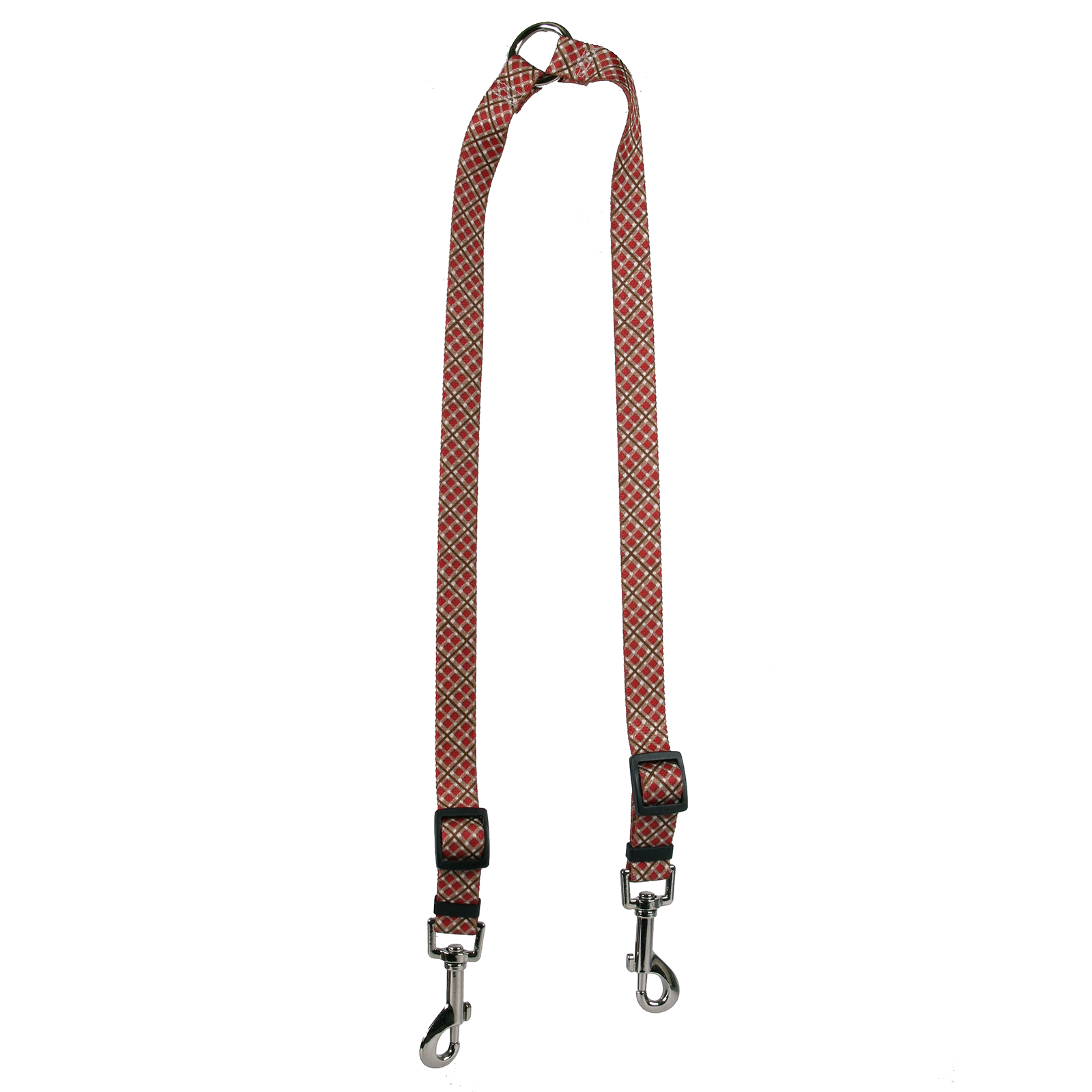 Red and Brown Diagonal Plaid Coupler Lead