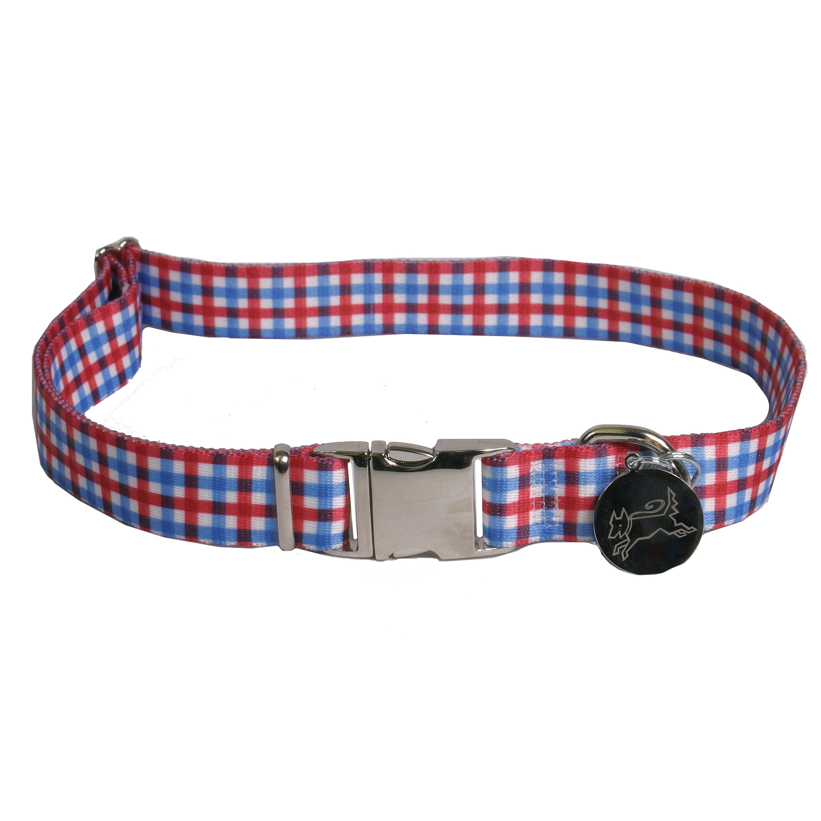 Southern Dawg: Gingham Red & Blue Premium Dog Collar