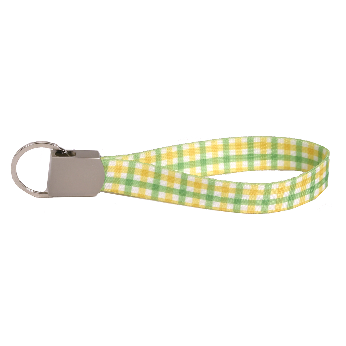 Southern Dawg: Gingham Yellow & Green Keychain